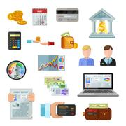 Credit Rating Icons On White Background - stock illustration