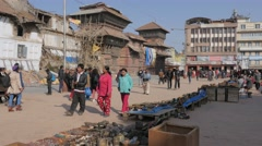 Souvenir street stall market on Basantapur square,Kathmandu,Nepal - stock footage
