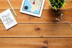 close up of tablet pc with gps navigtor map - stock photo