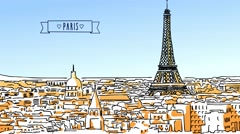 Roofs of Paris Hand-drawn animated Artwork Stock Footage