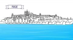Prague Outline Panorama Animation - stock footage