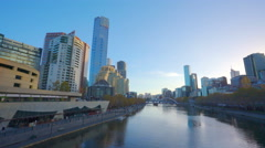 4k moving shot across the Yarra River in downtown Melbourne Stock Footage