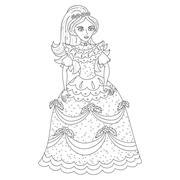 Beautiful princess in shining dress with spangles, coloring book - stock illustration