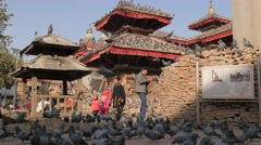 Kid and mother walking through pigeons on Durbar,Kathmandu,Nepal Stock Footage