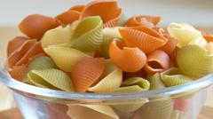 Tri color pasta. Close Up. Stock Footage