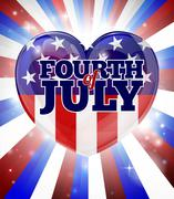 Fourth of July Independence Day Heart Design Stock Illustration