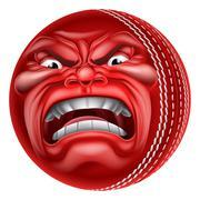 Angry Ball Cricket Sports Cartoon Mascot - stock illustration