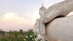 White Buddha Stone statue Stock Footage