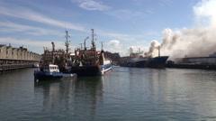 Fire extinguishing Ship Johanna Maria Habour Scheveningen  - stock footage
