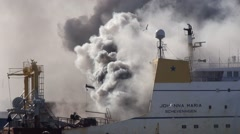 Fire extinguishing Ship Johanna Maria Habour Scheveningen shot 5 from 9 Stock Footage