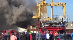 Fire extinguishing Ship Johanna Maria Habour Scheveningen shot 8 from 9 Stock Footage