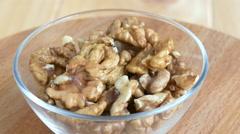 Walnuts. Walnut kernels. Clean organic walnuts. - stock footage