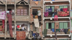 Clothes drying on balconies,Kathmandu,Nepal Stock Footage