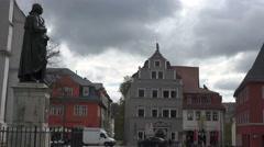 Weimar: Herder monument & classical houses at Herderplatz, Germany Stock Footage