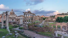 Ruins of Forum Romanum on Capitolium hill day to night timelapse in Rome, Italy Stock Footage