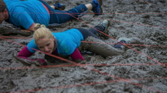 Trying to crawl in the mud pool Stock Footage