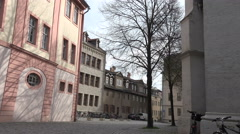 "Weimar: Classical houses on the ""Herderplatz"" around the city church.DEU Stock Footage"