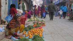 Fruit sellers on street,Kathmandu,Nepal Stock Footage