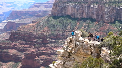 Tourists at lookout Grand Canyon Stock Footage
