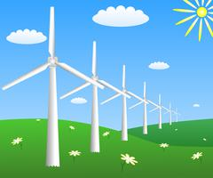 Wind turbines on a field with camomiles. Vector EPS10 Stock Illustration