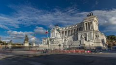 Rome, Italy. Famous Vittoriano with gigantic equestrian statue of King Vittorio Stock Footage