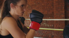 man woman training gym boxing mma ring pads mixed martial arts fitness - stock footage