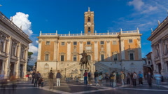 Capitoline hill landmark square timelapse hyperlapse surrounded by neo classic Stock Footage