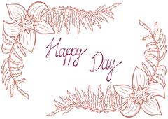 Happy day. Vintage background with ancient flowers like narcissus and fern Stock Illustration