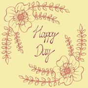 Happy day. Vintage background with ancient flowers like portulaca Stock Illustration