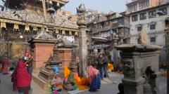 Hindu Temple Kathmandu in Nepal people moving - stock footage