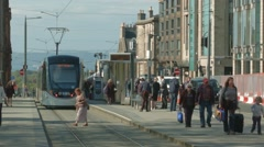 Edinburgh Tram, St Andrew square - stock footage