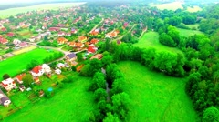 Urban landscape with village. Stock Footage