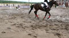 Professional female jockey rides on horseback. Horse runs on the sand - stock footage