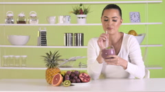 Smoothie fruit drink health delicious sip weight loss diet Stock Footage