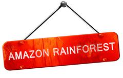 Amazon rainforest, 3D rendering, a red hanging sign - stock illustration