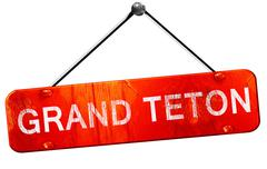 Grand teton, 3D rendering, a red hanging sign - stock illustration