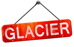 Glacier, 3D rendering, a red hanging sign - stock illustration