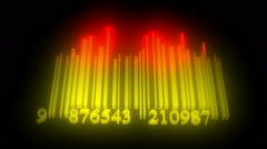 Moving light yellow barcode as spectrum analyzer - stock footage