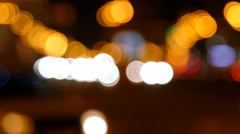 Defocused night traffic lights. Night busy traffic in a megalopolis. Stock Footage