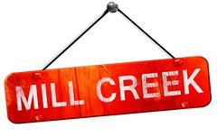 mill creek, 3D rendering, a red hanging sign - stock illustration