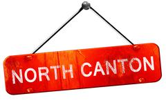 North canton, 3D rendering, a red hanging sign Stock Illustration
