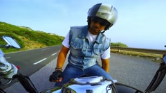 biker on a classic motorcycle - stock footage