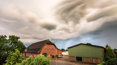 Storm clouds over Village Stock Footage