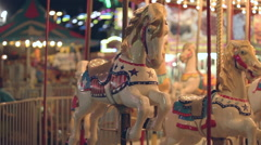 Merry Go Round Horse Carnival Ride Fair Amusement Park - stock footage