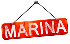 marina, 3D rendering, a red hanging sign - stock illustration