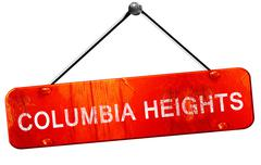 Columbia heights, 3D rendering, a red hanging sign Stock Illustration