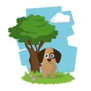 dog icon design  , vector graphic , animal illustration - stock illustration