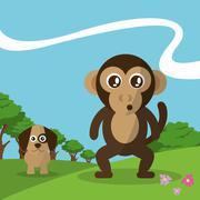 monkey and dog design  , vector graphic , animal illustration - stock illustration