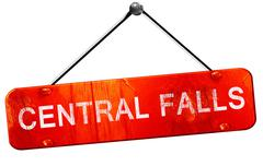central falls, 3D rendering, a red hanging sign - stock illustration