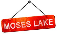 Moses lake, 3D rendering, a red hanging sign Stock Illustration